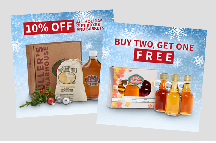 Digital graphics used in Facebook advertising for Fuller's Sugarhouse
