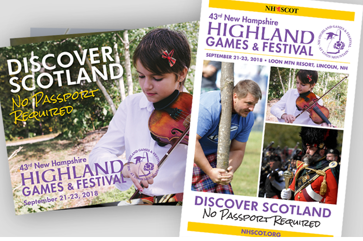 Event Marketing materials created by Sullivan Creative for the NH Highland Games