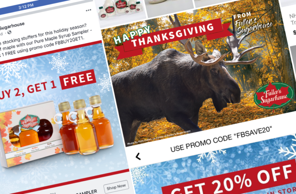 Some work done by Sullivan Creative for Fuller's Sugarhouse's 2018 Holiday Marketing Campaign, including paid ads on social media and a printed postcard