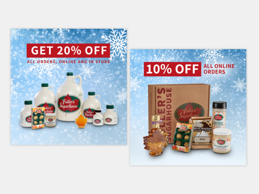 Social media graphics created to promote Fuller's holiday deals and specials