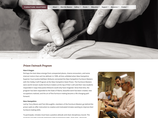 A page on the Furniture Masters website, designed by Sullivan Creative