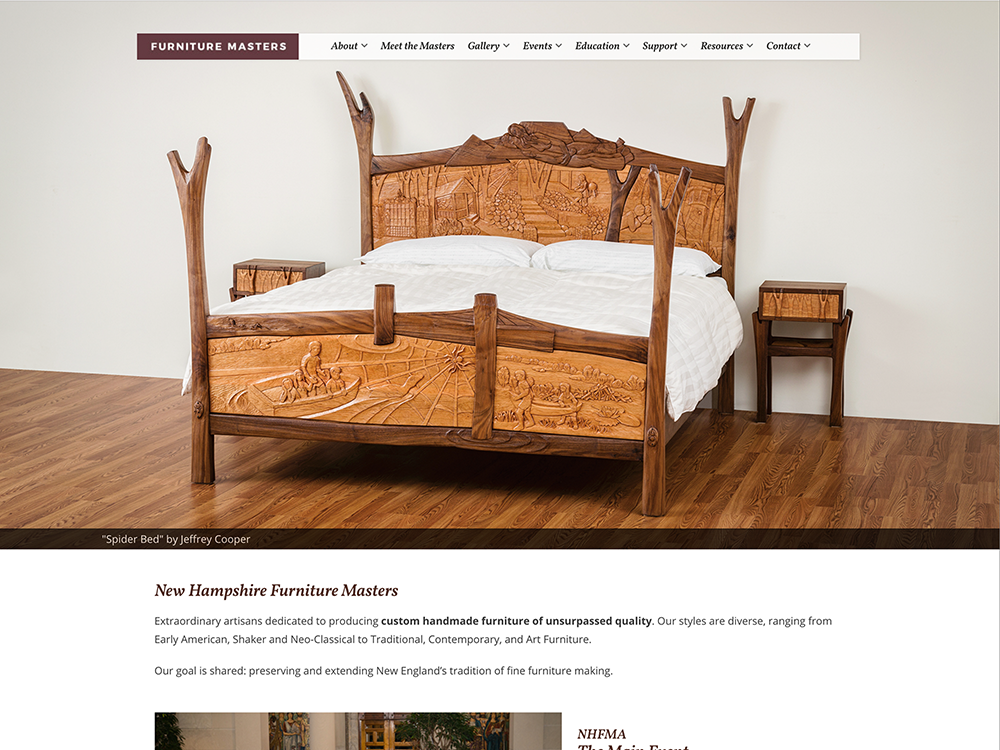 Homepage of the Furniture Masters website, designed by Sullivan Creative