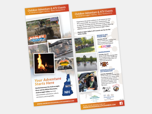 A year-round rack card designed for the Androscoggin Valley Chamber of Commerce featuring the Jericho ATV Fest