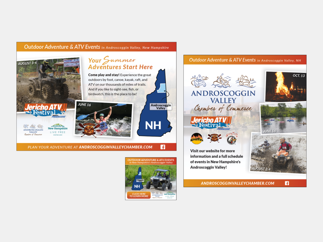Print and digital ads for the Jericho ATV Festival and other Androscoggin Valley Chamber events
