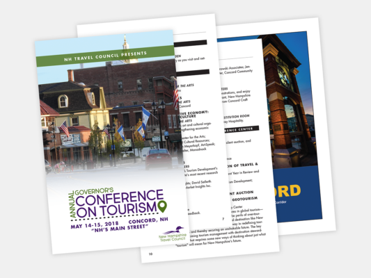 The program for the 2018 NH Travel Council Governor's Conference on Tourism, designed by Sullivan Creative