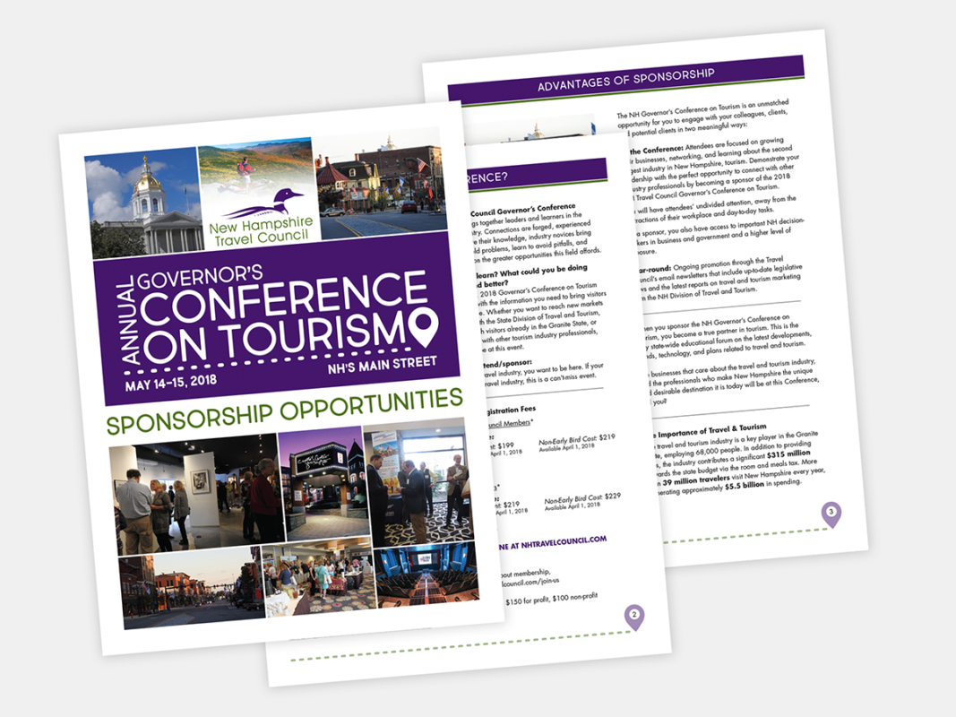 The Sponsorship Package for the Governor's Conference on Tourism, designed by Sullivan Creative