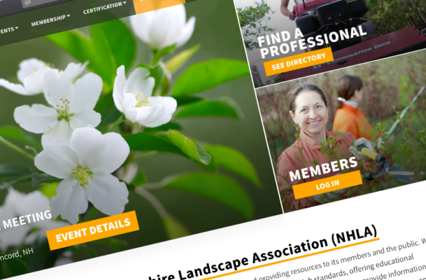 Our redesigned look for the new NH Landscape Association website, built in Wordpress