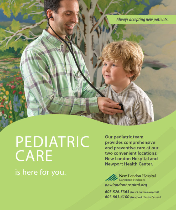 A print ad for New London Hospital highlighting pediatric care