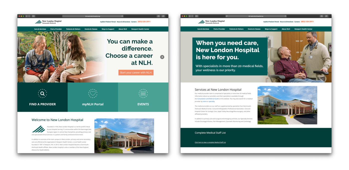 Screenshots of the New London Hospital website showing the photos from the photoshoot in use