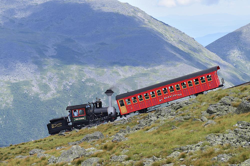 The Cog Railway descending Mount Washington