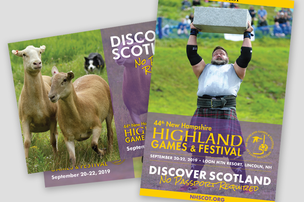 Picture of products created for NH Highland Games by Sullivan Creative