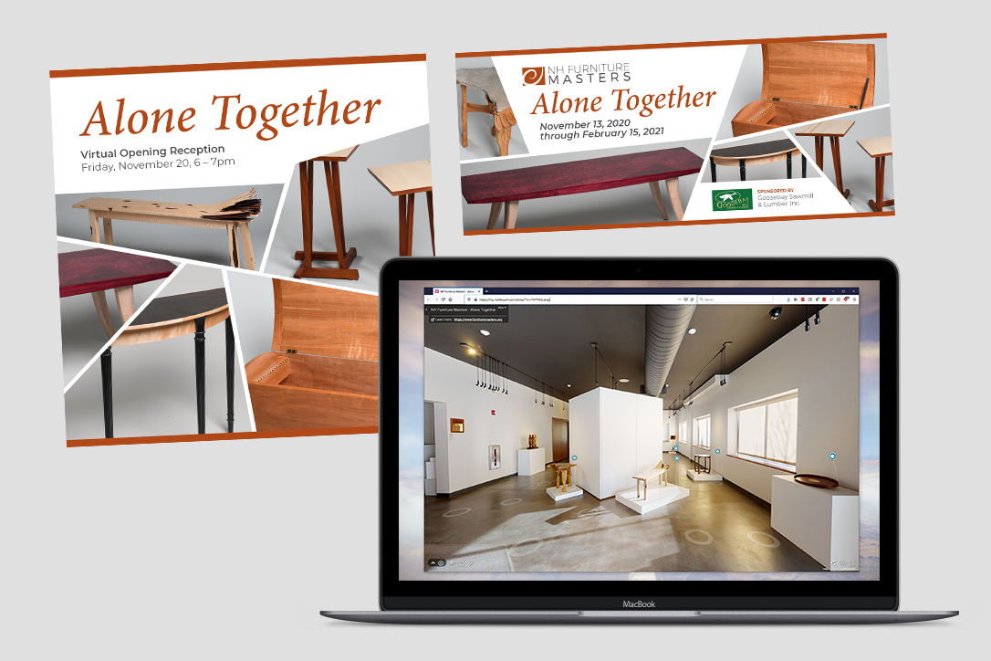 Examples of marketing collateral used to promote a virtual exhibition for the NH Furniture Masters